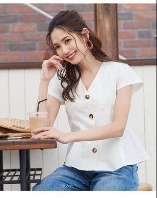 日系收腰V領恤衫 Japan fashion peplum shirt top peplum top v neck blouse