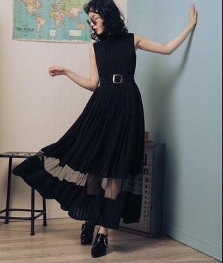 Marjorie 方鑽 全新黑色腰封洋裝