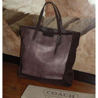 COACH suede-python embossed leather tote bag
