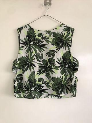 Forever 21 Cut Out Green and White Aloha Top