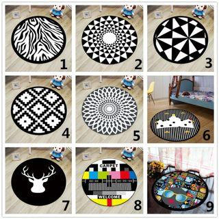 Black Round Mat Geometric Printed Carpet Rugs Non-Slip Children Play Tent Mat  #EndgameYourExcess