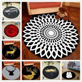 80cm Black Round Carpet Anti-slip Bedroom Kids Room Floor Mat Rugs #EndgameYourExcess