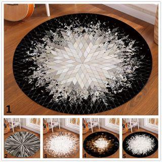 Modern Geometric Round Carpet Crystal Velvet Soft Bedroom Rug Non-slip Mat