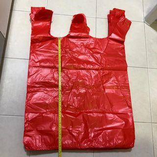 🚚 $2 for 10 pcs Extra large red plastic bag with handle