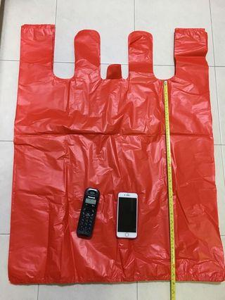 $2.60 for 10 pcs super Extra large red plastic bag with handle