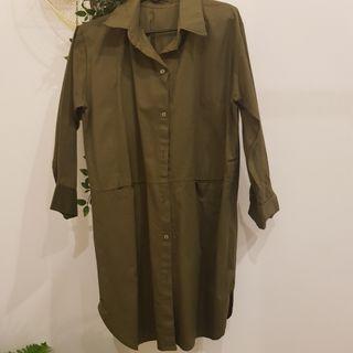 Army Green Dress Long Top