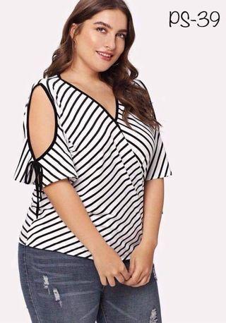 Plus Size BLACK and white stripes blouse , top , off shoulder L-XXL