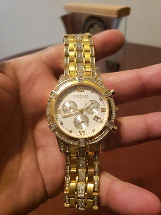 Wittnauer yellow gold with inset saphire crystals