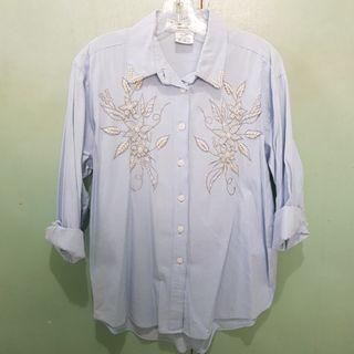 Light Blue Denim Long Sleeves with Peas and Embroidery