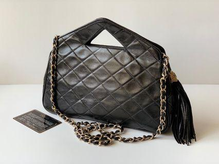 Authentic Chanel Rare Vintage Quilted Lambskin Chain Sling or Triangle Handle Shoulder Bag