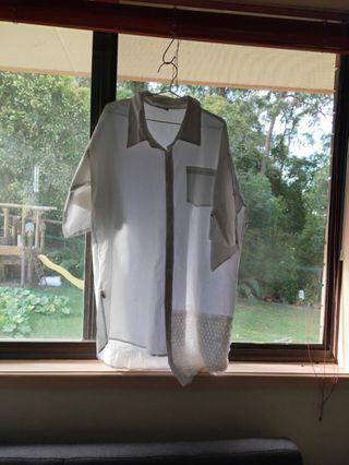 oversize white t shirt with sequin