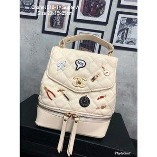 Chanel Backpack White Buttons
