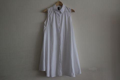 洋裝|無袖 有領 白襯衫 傘狀 棉質