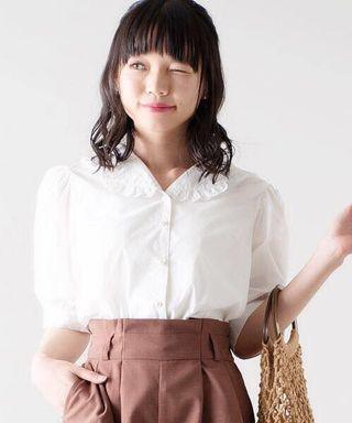 💎日系💎花邊反領珍珠扣恤衫上衣 Japan fashion ruffle trimmed collar pearl buttons shirt blouse white shirt off white blouse