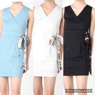 3⃣️色💖日系Re收收腰V領連身裙op Japan fashion tie up scarf ribbon v neck line dress op onepiece dress 3 colours