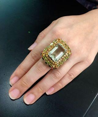 Chunky green amethyst ring with semi precious stones