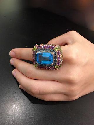 BOLD!! Chunky blue topaz ring with semi precious stones