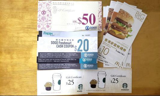 Sogo, McDonald's, starbucks coupon