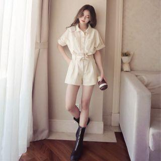 Solid Coloured Buttons Down With Waist Ribbon Tie Trendy Romper