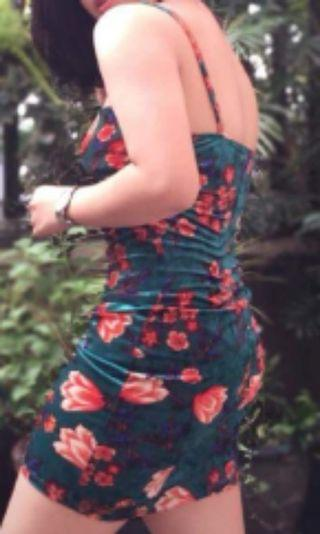 Floral Green Fitted dress