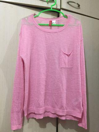 Pink H&M knitted pullover sweatshirt