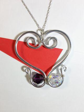 Swarovski elements crystal 10 mm round bead heart shape wire wrapped handmade pendant with Italy 925 sterling silver necklace my design jewelry 施華洛世奇水晶元素心形型鋁銅繞線手造吊墜配意大利925純銀頸鏈項鍊