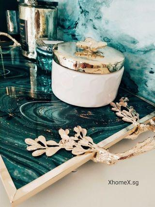Osmanthus Fragans Shape Handle Gree  Agate Style Tray