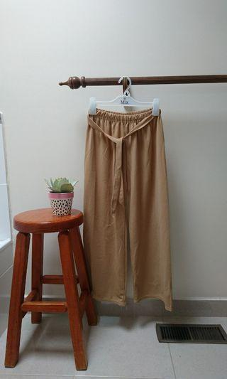 camel beige light brown culotte pants silky tie waist size 6-10 s