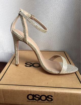 1054461968d4 ASOS Shoes HIGH FIVE Heeled Sandals - Gold   Size 38   UK
