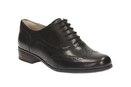 Clarks Hamble Oak, Black Leather, Womens Shoes
