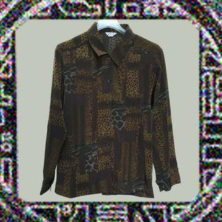 豹紋小尤物✔腰身×長袖×古著×襯衫