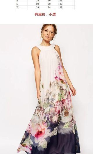 🚚 Brand New floral long dress Fits up to L