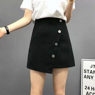 不規則排扣高腰短裙