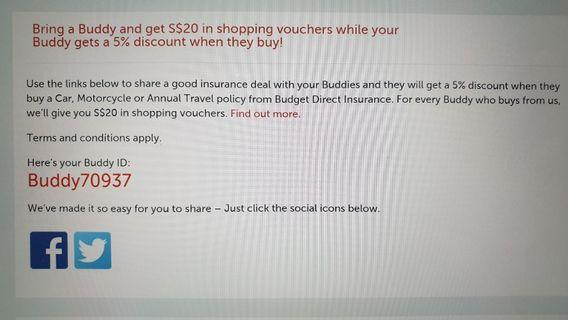 Budget Direct Insurance - Buddy ID for 5% discount! Buddy70937