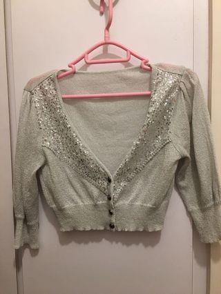 銀灰色珠片冷氣外套