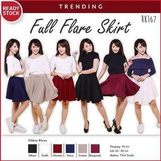 Premium Scuba Red Flare Skirt