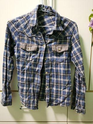 🚚 藍色 格紋 襯衫