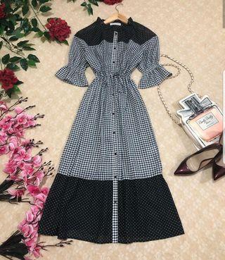 Button down gingham Tie-waist long dress