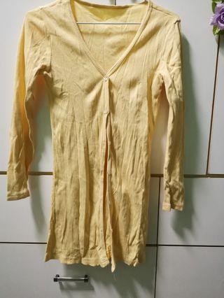 🚚 鵝黃色 羅紋長外套