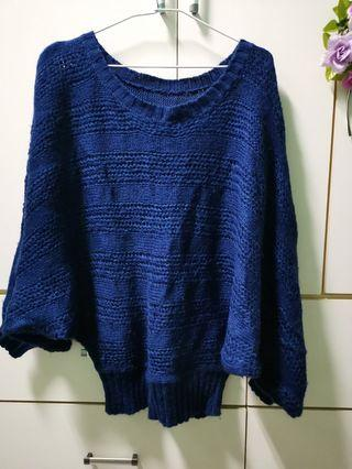 🚚 藍色 大針織 毛衣