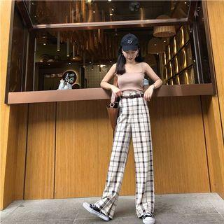 Checkered High-waist leisure culottes