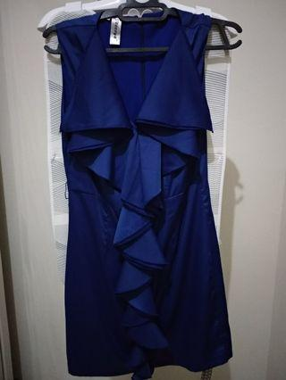 Dress Pesta Biru Ruffles