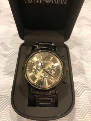 阿曼尼三眼帶日期手錶(全新未使用、保固2年)
