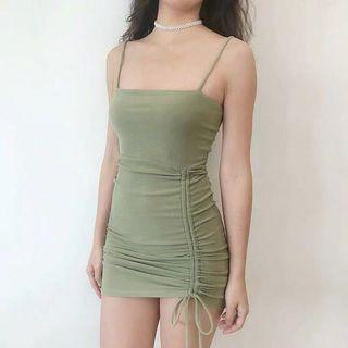 [PO] Straight Cut Ruched Up Bodycon Dress