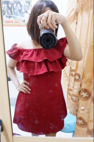 Mini Dress Sabrina Merah Maroon