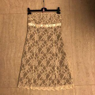 VALENTINO All-Over Lace Tube Dress