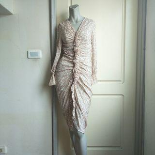 【tʃiʃi】3.1 Phillip Lim淺色豹紋真絲喇叭袖襉褶荷葉邊小禮服.晚宴服.長袖洋裝-0號=XS