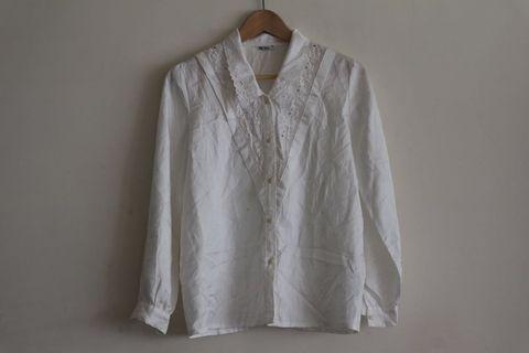 法式白襯衫|日本製 雕花 Vintage 古著
