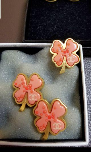 Chanel vintage 中古四葉草 耳夾 earclips brooch set
