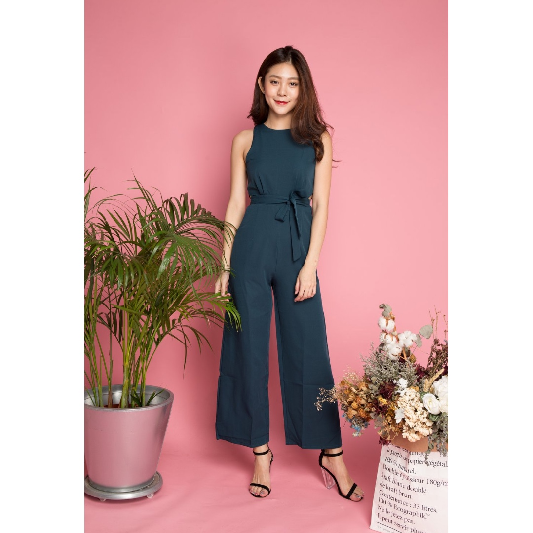25863072 5 colours Tdc Side Cut Out Slef Tie Culotte Jumper Jumpsuit, Women's ...